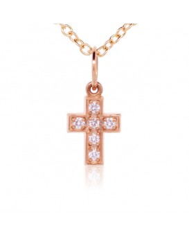 Cross Charm in 18K Rose Gold with High Quality Diamonds