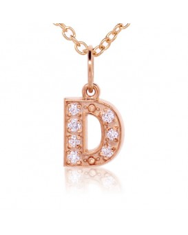Alphabet Charm, Letter 'D'  in 18K Rose Gold with high quality diamonds