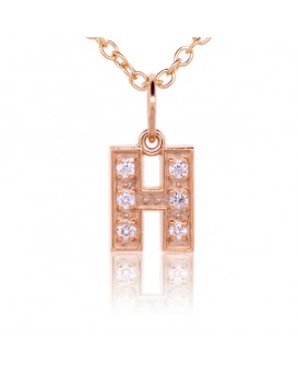 Alphabet Charm, Letter 'H'  in 18K Rose Gold with high quality diamonds