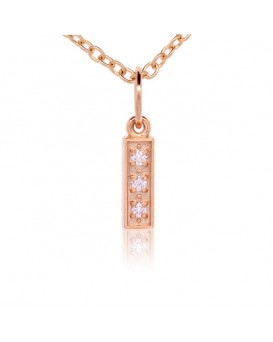 Alphabet Charm, Letter 'I'  in 18K Rose Gold with high quality diamonds