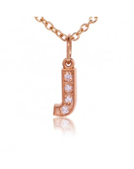 Alphabet Charm, Letter 'J'  in 18K Rose Gold with high quality diamonds