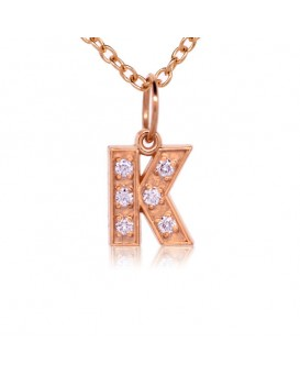 Alphabet Charm, Letter 'K'  in 18K Rose Gold with high quality diamonds
