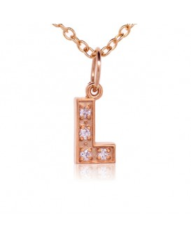Alphabet Charm, Letter 'L'  in 18K Rose Gold with high quality diamonds