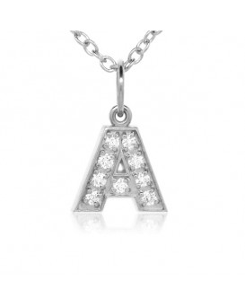 Alphabet Charm, Letter 'A'  in 18K White Gold with high quality diamonds