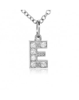 Alphabet Charm, Letter 'E'  in 18K White Gold with high quality diamonds