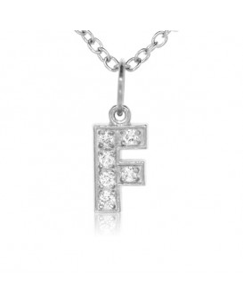 Alphabet Charm, Letter 'F' in 18K White Gold with high quality diamonds