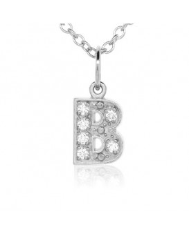Alphabet Charm, Letter 'B'  in 18K White Gold with high quality diamonds