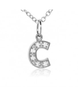 Alphabet Charm, Letter 'C'  in 18K White Gold with high quality diamonds