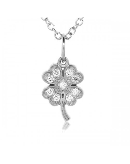 bb34587cc Four Leaf Clover Charm in 18K White Gold with High Quality Diamonds