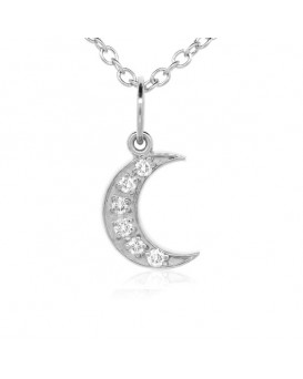 Crescent Moon Charm in 18K White Gold with High Quality Diamonds