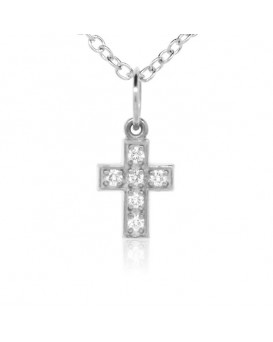 Cross Charm in 18K White Gold with High Quality Diamonds