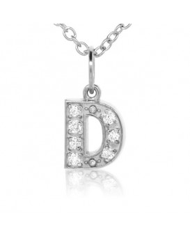 Alphabet Charm, Letter 'D'  in 18K White Gold with high quality diamonds