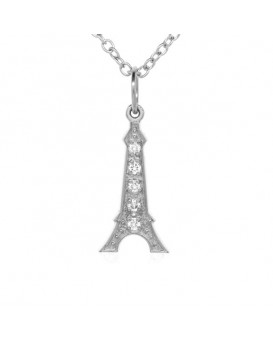 Eiffel Tower Charm in 18K White Gold with High Quality Diamonds