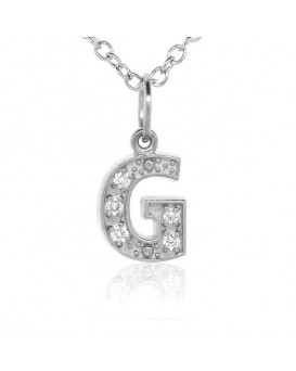 Alphabet Charm, Letter 'G' in 18K White Gold with high quality diamonds