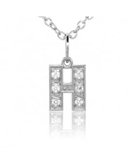 Alphabet Charm, Letter 'H' in 18K White Gold with high quality diamonds