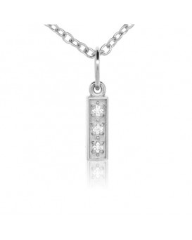 Alphabet Charm, Letter 'I' in 18K White Gold with high quality diamonds