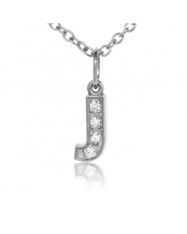 Alphabet Charm, Letter 'J' in 18K White Gold with high quality diamonds