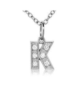 Alphabet Charm, Letter 'K' in 18K White Gold with high quality diamonds