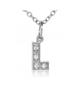 Alphabet Charm, Letter 'L' in 18K White Gold with high quality diamonds
