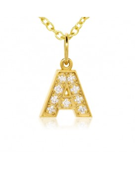 Alphabet Charm, Letter 'A'  in 18K Yellow Gold with high quality diamonds