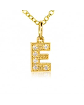 Alphabet Charm, Letter 'E'  in 18K Yellow Gold with high quality diamonds