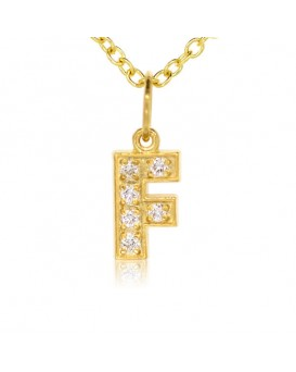 Alphabet Charm, Letter 'F'  in 18K Yellow Gold with high quality diamonds