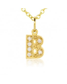 Alphabet Charm, Letter 'B'  in 18K Yellow Gold with high quality diamonds