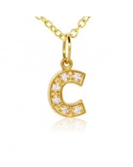 Alphabet Charm, Letter 'C' in 18K Yellow Gold with high quality diamonds