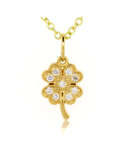 6df6a35be Four Leaf Clover Charm in 18K Yellow Gold with High Quality Diamonds