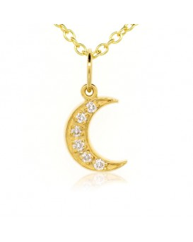 Crescent Moon Charm in 18K Yellow Gold with High Quality Diamonds