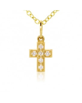 Cross  Charm in 18K Yellow Gold with High Quality Diamonds