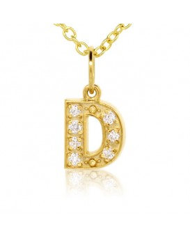 Alphabet Charm, Letter 'D'  in 18K Yellow Gold with high quality diamonds