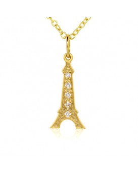 Eiffel Tower Charm in 18K Yellow Gold with High Quality Diamonds