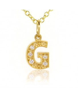 Alphabet Charm, Letter 'G'  in 18K Yellow Gold with high quality diamonds