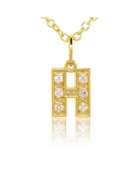 Alphabet Charm, Letter 'H' in 18K Yellow Gold with high quality diamonds