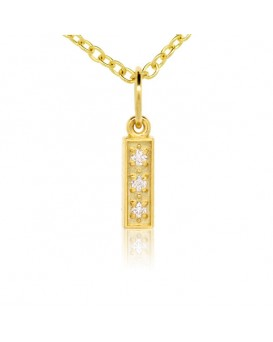Alphabet Charm, Letter 'I'  in 18K Yellow Gold with high quality diamonds