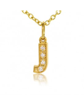Alphabet Charm, Letter 'J'  in 18K Yellow Gold with high quality diamonds