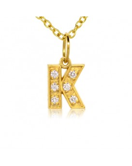 Alphabet Charm, Letter 'K'  in 18K Yellow Gold with high quality diamonds