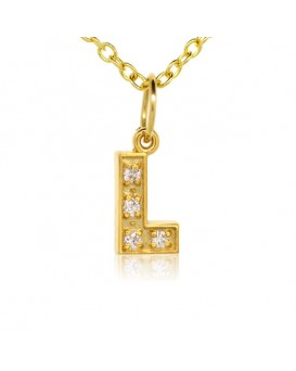 Alphabet Charm, Letter 'L'  in 18K Yellow Gold with high quality diamonds