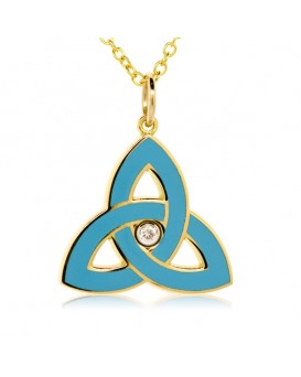 French Enamel Yellow Gold Trinity Charm