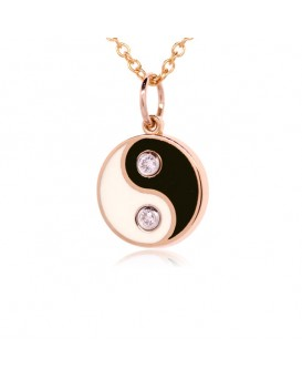 French Enamel Rose Gold Yin Yang Charm