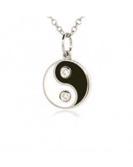 French Enamel White Gold Yin Yang Charm